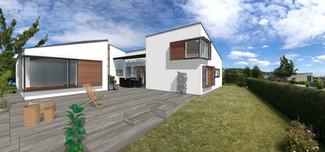 Tilbygning til hvid villa