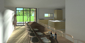 Langbord og køkken alrum