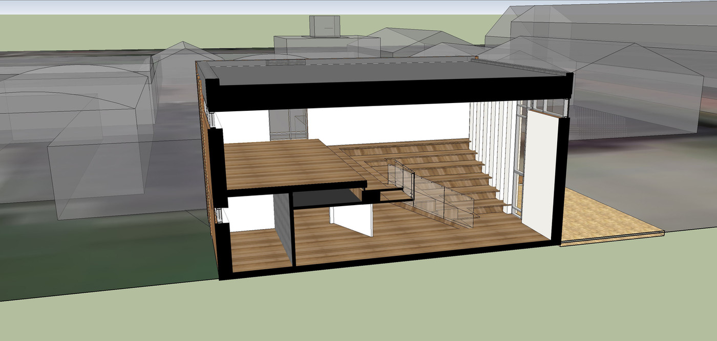 Innovations & lærings bygning -Dalum Landbrugsskole  et multifunktionelt rum- snit