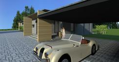 Adgang i carport til hus