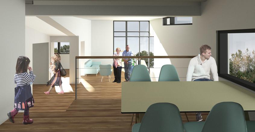 Stue og alrum i flere niveauer m udsigt.
