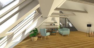 1.sal med atelier stue & 3 værelser