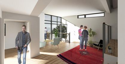 Tilbygning i Århus skaber plads i stuen