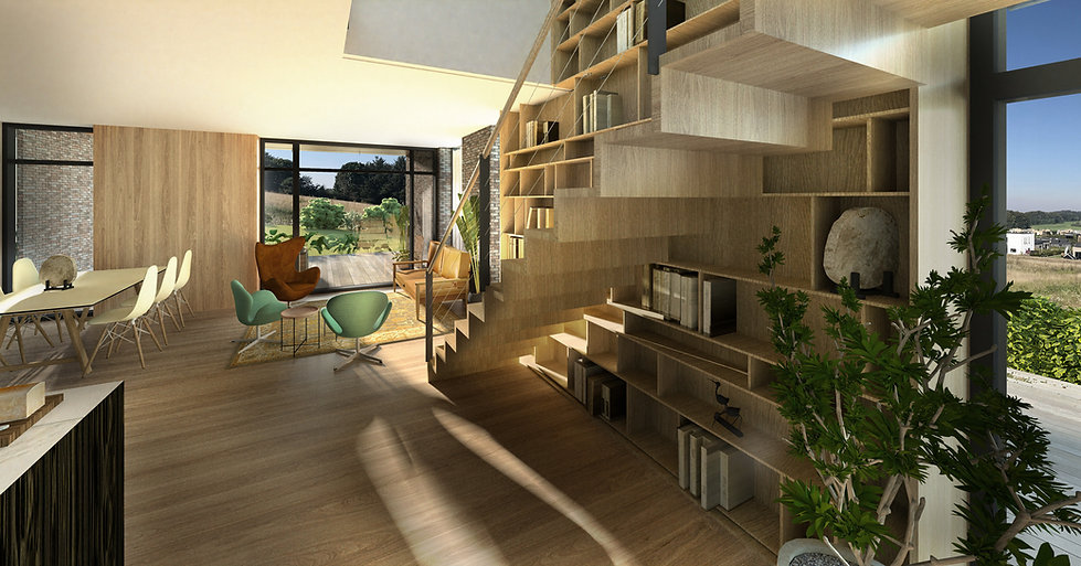 Arkitektens villa m bogreol i 2plan -God