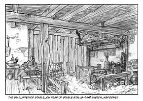 The Star-Interior Rear View of Stable, Line Art