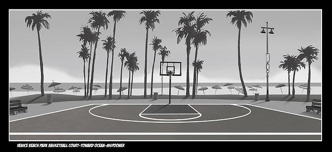 Venice Beach Park Basketball Court-View