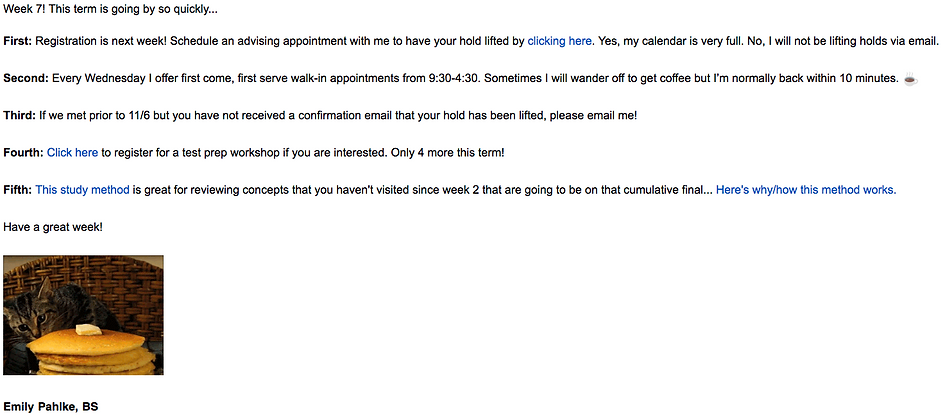 A screenshot of a email that Emily sends to her students.