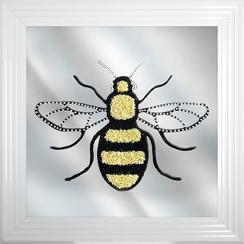Bee Cluster on Mirror Background Framed Artwork - 75x75cm