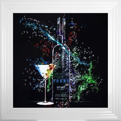 Framed Vodka Bottle Liquid Resin Artwork - 75x75cm