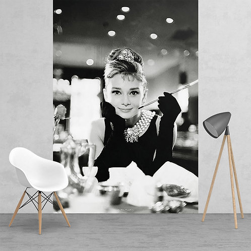 Black & White Audrey Hepburn Breakfast at Tiffany's Feature 2 Piece Wall Mural