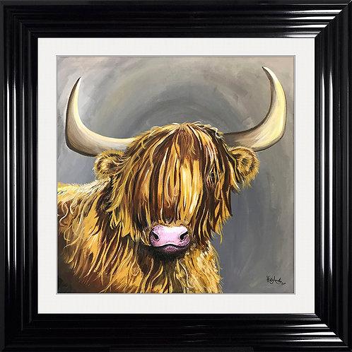 Highland Cow Framed Artwork - 75x75cm