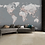 Thumbnail: Detailed Silver & Grey World Map Feature 4 Piece Wall Mural