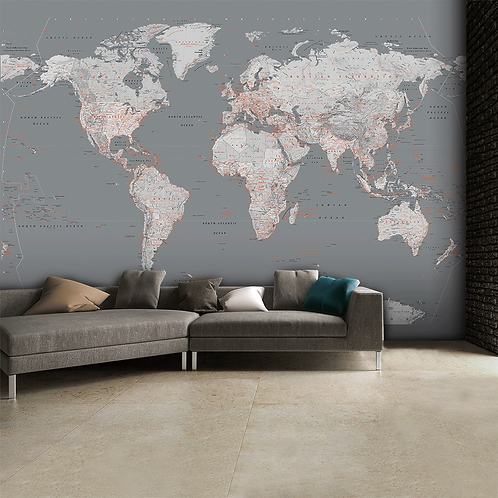 Detailed Silver & Grey World Map Feature 4 Piece Wall Mural