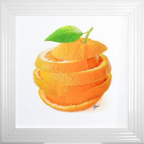 Sliced Orange Liquid Resin Framed Artwork - 75x75cm