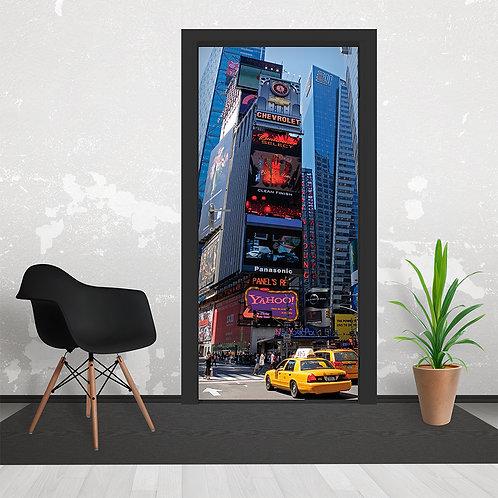 Time Square New York Yellow Taxi Door Wallpaper Mural