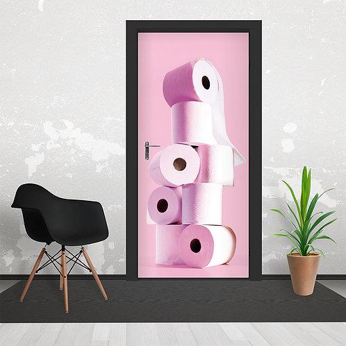 Pink Stacked Toilet Paper Door Wallpaper Mural