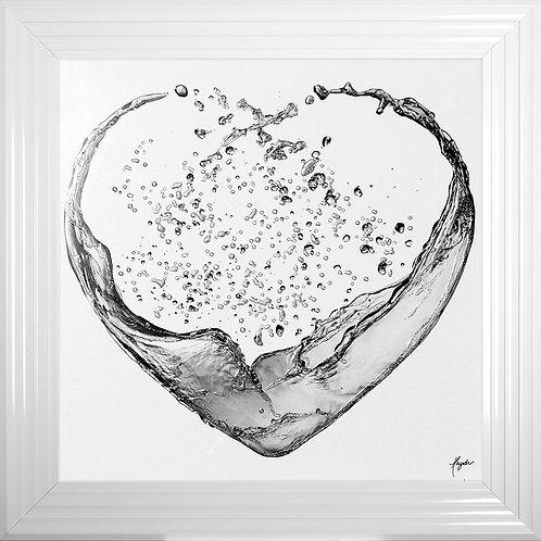 Heart Splash with White Background Liquid Resin Artwork - 75x75cm