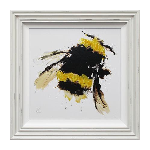 Scruffy Bumblebee Liquid Art Framed Wall Art