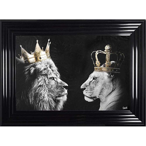 Lion & Lioness Framed Liquid Wall Art