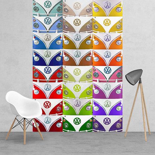 VW Volkswagen Campervan Logo Badge Multi Coloured Feature 2 Piece Wall Mural