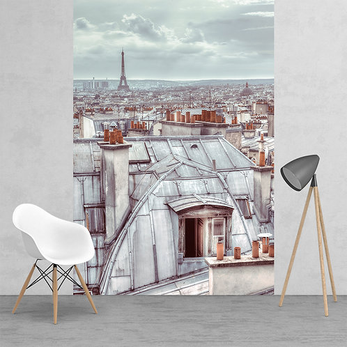 Classic Vintage Roof Tops of Paris Feature 2 Piece Wall Mural