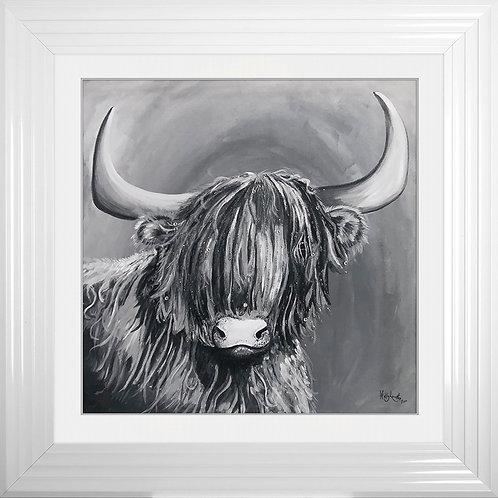 HIGHLAND COW G Framed Liquid Resin Artwork - 75 x 75cm