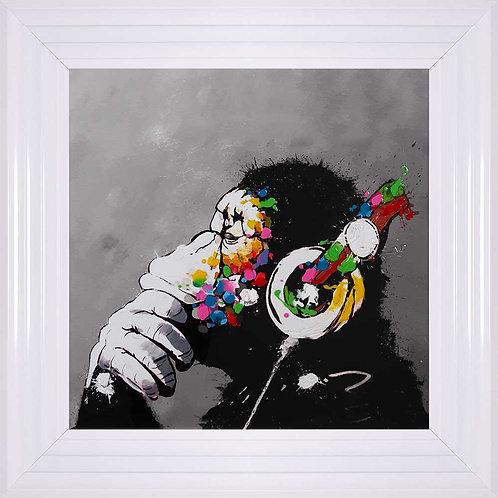 Monkey with Headphones Framed Liquid Wall Art