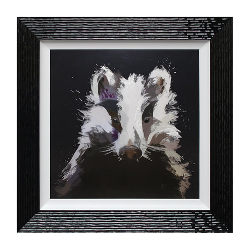 Scruffy Badger Liquid Framed Wall Art