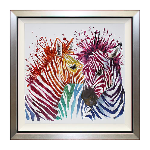 Party Zebras Liquid Framed Wall Art