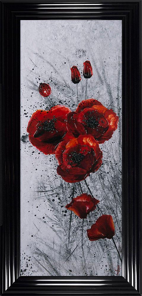 Poppy 1 framed liquid artwork 115x55cm