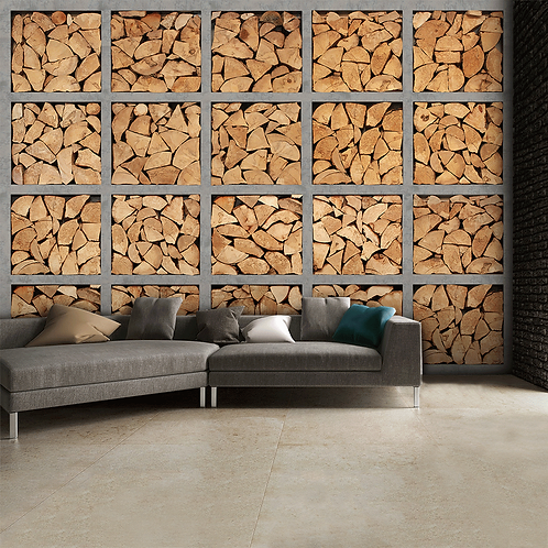 Stacked Fire Wood Logs Feature 4 Piece Wall Mural