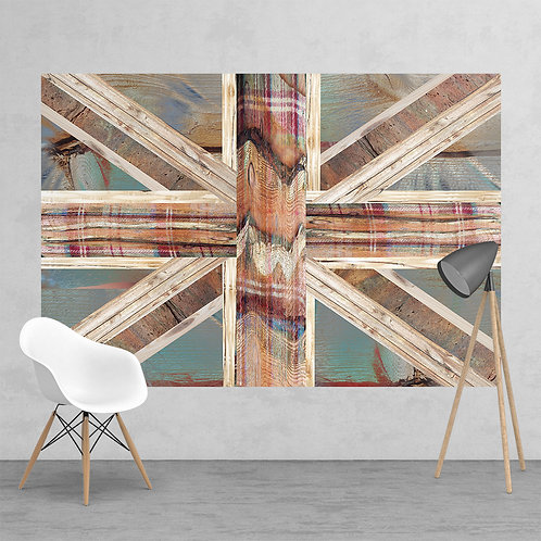 Vintage Shabby Chic Union Jack Flag Feature 2 Piece Wall Mural