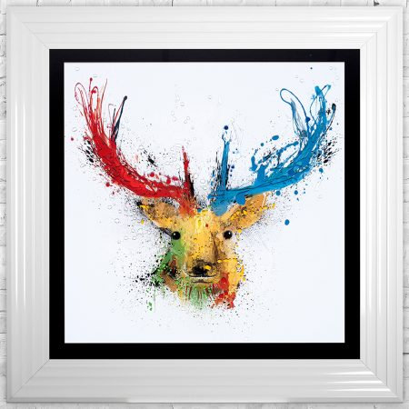 Colourful Stag White Liquid Resin Artwork - 75x75cm