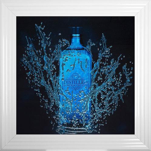 Gin Bottle Liquid Glitter Resin Framed Artwork - 75x75cm