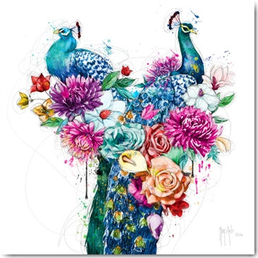 Patrice Murciano PEACOCK FLOWERS Framed Wall Art