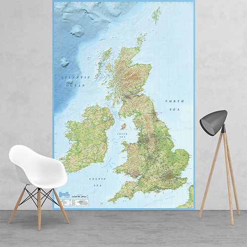 British Isles Map Feature 2 Piece Wall Mural