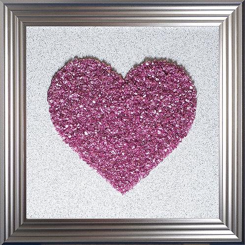 Heart Pink Cluster Framed Liquid Resin Artwork - 75x75cm