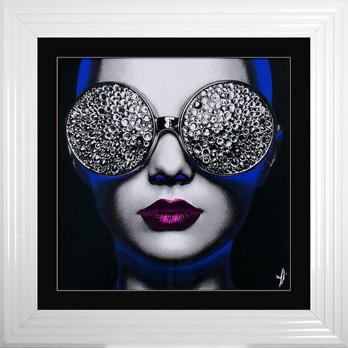 Neon Girl 1 Framed Liquid Resin Artwork - 75x75cm