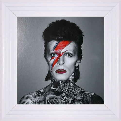 Bowie Liquid Resin & Swarovski Crystals Framed Artwork - 55x55cm