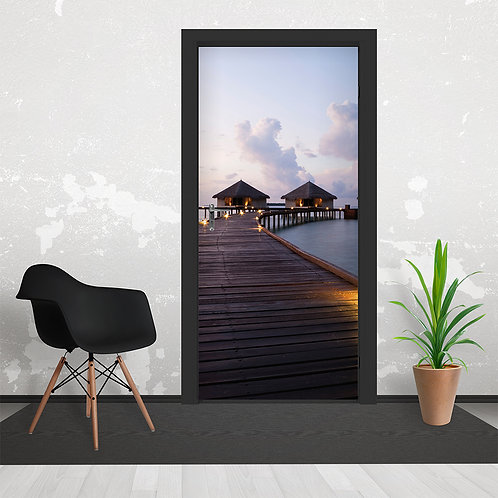 Maldives Dream Jetty Hut Door Wallpaper Mural