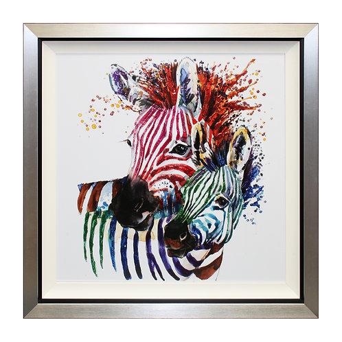 Party Zebras II Liquid Framed Wall Art