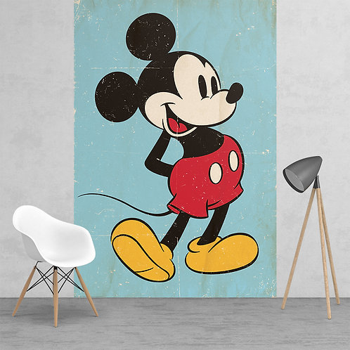 Disney Mickey Mouse Classic Vintage Style Feature 2 Piece Wall Mural
