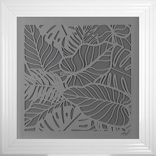 Leaves 2 3D Framed Artwork - 75x75cm