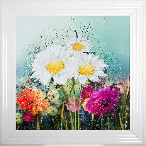 Meadow Framed Liquid Artwork - 75x75cm