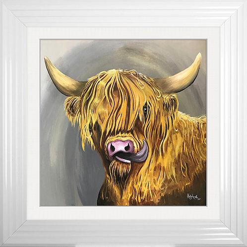Highland Cow Tongue Framed Artwork - 75x75cm