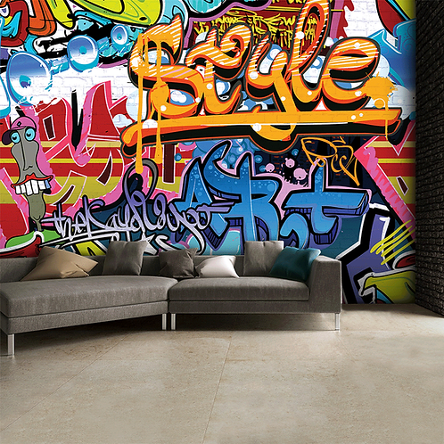 Brightly Coloured Street Graffiti Feature 4 Piece Wall Mural