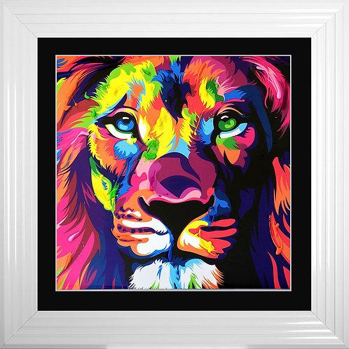 LION Framed Liquid Resin Artwork - 75x75cm