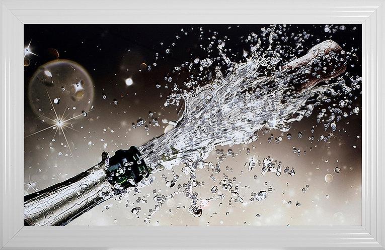 Popping Champagne Bottle Liquid Resin Framed Artwork - 114x74cm