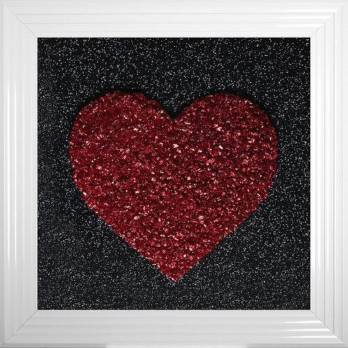 Heart Red Cluster Framed Liquid Resin Artwork - 75x75cm