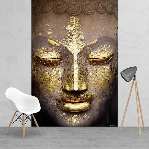 Modern Shimmering Gold Buddha Face Feature 2 Piece Wall Mural